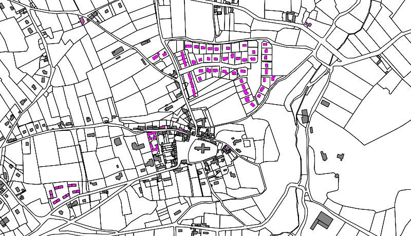 Extrait cartographique de l'analyse de la consommation de l'espace, Communauté de communes du Cœur-du-Cotentin et AVAP de Valognes et de Bricquebec.