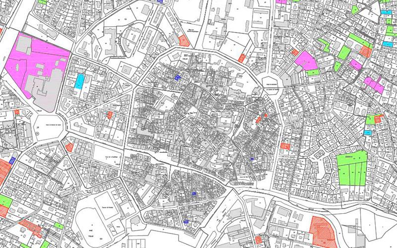 Extrait de la cartographie de la consommation foncière et du potentiel de renouvellement urbaine, PLU de Sélestat, document de travail.