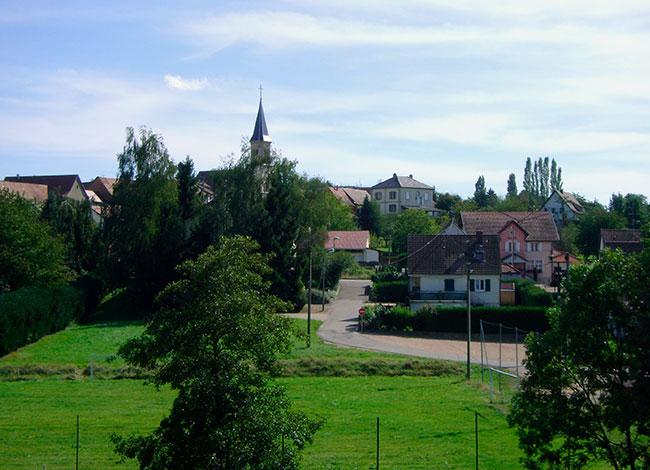Point de vue sur la commune de Muespach-le-Haut.
