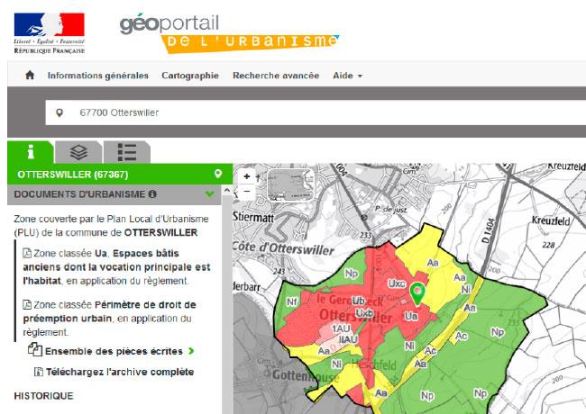 Document d'urbanisme sur le Géoportail de l'Urbanisme.
